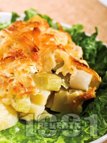 Гретен от картофи и праз със соева кайма - снимка на рецептата